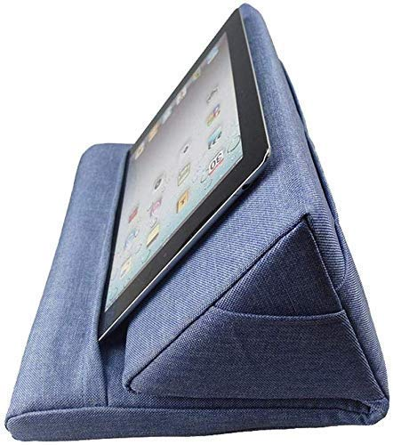 Multi-Angle Soft Pillow. Tablet Stand. Multifunction Laptop Cooling Pad. Lap Stand Book Couch Pillow Stand. Lap Rest Cushion for Ipad with Bag (Blue)