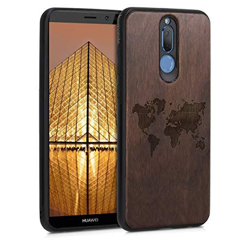 kwmobile Holz Schutzhülle für Huawei Mate 10 Lite - Hardcase Hülle mit TPU Bumper Walnussholz in Travel Umriss Design Dunkelbraun - Handy Case Cover