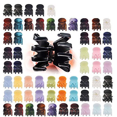 Mini Hair Claw Clips Plastic Hair Claws Pins Clamps Small Hair Clips for Girls and Women,Mix Colored