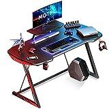 MOTPK 47 inch Gaming Desk Carbon Fiber Black Computer Desk, Gamer Workstation Home Office Desk with Monitor Stand Cup Holder and Headphone Hook