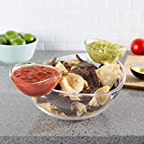 Chip and Dip Bowls-3 PC Appetizer Snack Serving Dishes-Indoor Outdoor Servingware for Chips, Salsa,...