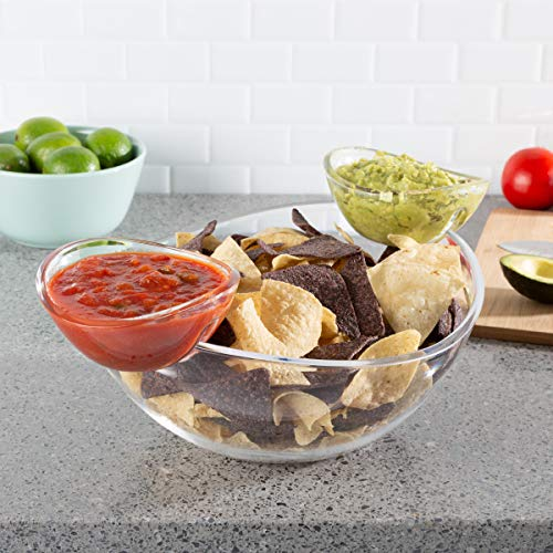 Chip and Dip Bowls-3 PC Appetizer Snack Serving Dishes-Indoor Outdoor Servingware for Chips, Salsa, Fruit, Veggies, Dips and More by Classic Cuisine