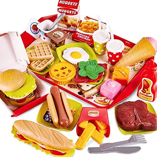 BUYGER 63 Pezzi Accessori Cucina Hamburger Pizza Cibo Giocattolo per Bambini, Cibo Finto Plastica Alimenti on Vassoio, Regalo per Bambini 3 4 5 Anni