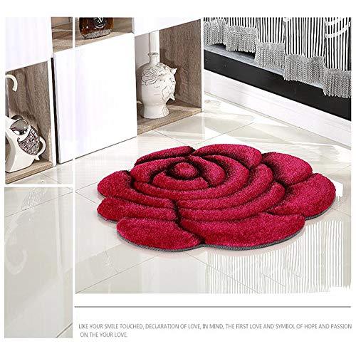 Mmyunx Badezimmer Teppich, Duschvorleger, 3D Bedruckte Massive Blumenform, 70 * 70Cm Türpolster Bodenmatte Für Dekor Hochzeits-Schlafzimmer Teppiche,Red