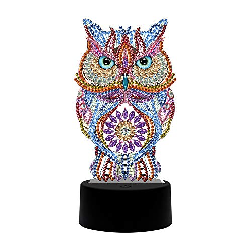 LJ123 DIY Diamond Painting Nachtlicht, Crystal Diamond Drawing Kit Acryl 3D Tischlampe LED Colourful Touch Nachtlampe Full Drill Special Shaped Dekorationen Handmade Arts Crafts Geschenke