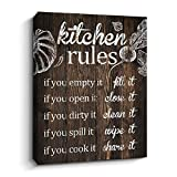Pigort Funny Kitchen Rules Wall Art Sayings Canvas Prints Artwork, Rustic Farmhouse Decor (12 x 15 inch,Brown)