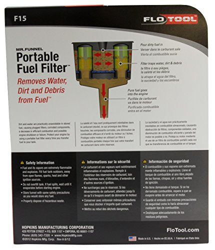 Portable Fuel Filter Funnel Removes Water and Dirt /& Filters Gasoline /& Oil