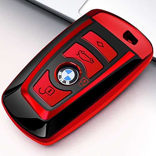 Uxinuo for BMW Key Fob Cover Case for BMW 1 3 4 5 6 7 Series and Compatible with BMW X3 X4 M2 M3 M4 M5 M6 Keyless Smart Remote, Red