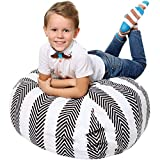 Stuffed Animal Storage - Cover Only - 90+ Plush Toys Holder and Organizer for Boys and Girls - 100% Premium Cotton Canvas - Grey Stripes