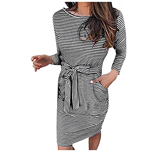 QNIHDRIZ Women's Striped Long Sleeve T Shirt Dress Casual Tie Waist Round Neck Party Midi Dresses with Pockets Black