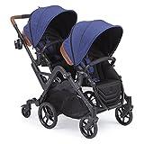 Contours curve tandem passeggino doppio per neonati, bambini piccoli o twins - 360 ° girare, opzioni seduta multipla, blu indaco