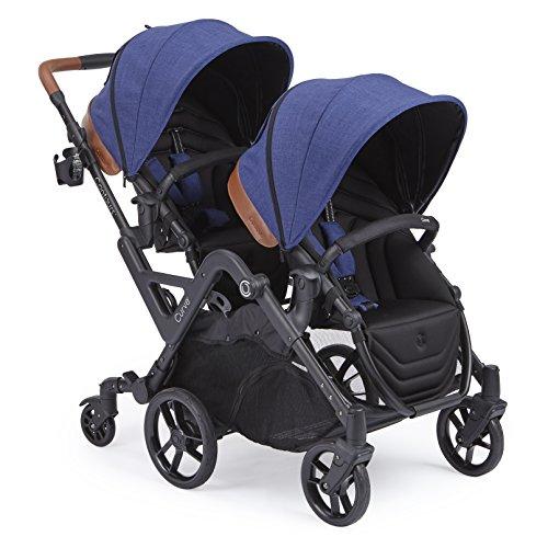 Contours curva doble en tándem cochecito para bebés, niños pequeños o gemelos - 360 ° encendido, opciones de asientos múltiples, azul índigo