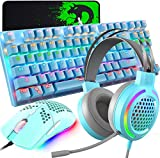 4-in-1 Gaming Keyboard Mouse Combo,87 Keys Rainbow Backlit Mechanical Keyboard,RGB Backlit 6400 DPI Lightweight Gaming Mouse with Honeycomb Shell,3.5mm Gaming Stereo Headset for PC Laptop Computer