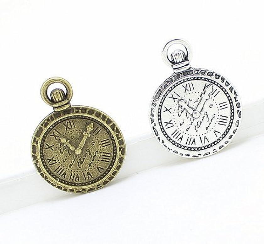 NP Supplies 14 pcs (Silver 7 Bronze 7) Clock 21 mm x 29 mm Charms (NS575)