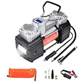 GSPSCN Portable 12V Air Compressor Pump Digital Display Tire Inflator with LED Flashlight, Heavy Duty Dual Cylinder Tire Pump 150 PSI with Locking Air Chuck for Auto,SUV,Off-Road,Truck,RV,Bike