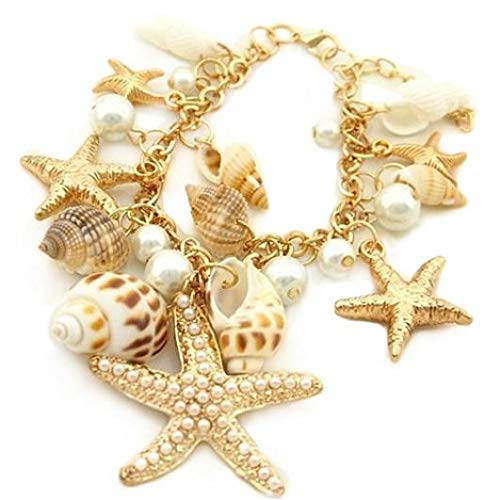 Gilroy Sea Shell Starfish Faux Pearl Chain Bracelet Ocean Beach Conch Jewelry Gift for Women