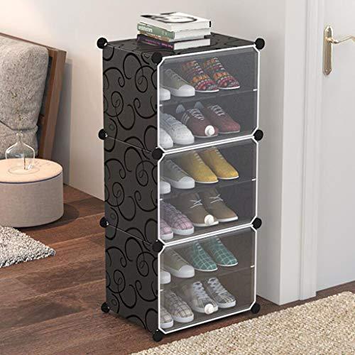 XWZH Zapatero a prueba de polvo, 3 cubos, organizador de almacenamiento de cubos de bricolaje, armario modular multiusos con puertas y ganchos adicionales para entrada, pasillo, sala de estar