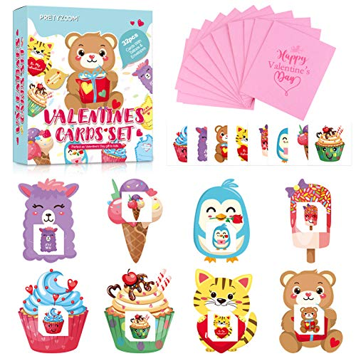 ABOOFAN Tarjetas del Día de San Valentín para Niños 32 Set con Tatuajes Temporales Y Sobres Tarjetas de Felicitación del Día de San Valentín para Niños Opción