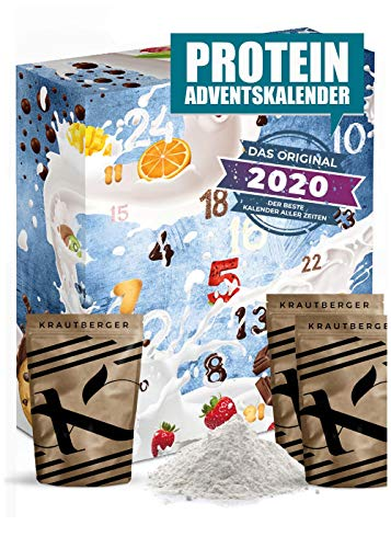 Protein advent calendar 2020 I 24 x 20g different protein powders I gift idea for fitness enthusiasts I protein protein calendar for athletes adult muscle men