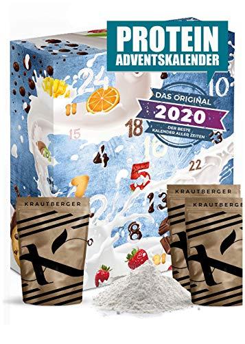 Protein Adventskalender 2020 I 24 x 20g verschiedene Proteinpulver I Geschenkidee für Fitnessbegeisterte I Eiweiß Protein Kalender für Sportler Erwachsene Muskelmänner