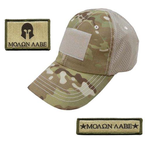 Gadsden and Culpeper Operator Cap Bundle - 2 Matching Molon Labe Patches & Hat (Multicam w/mesh Back)