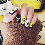 BLOUR Patrón de Dibujos Animados Amarillo 24 Hojas/Set Puntas de uñas postizas Falsas Cubierta Redonda Pegamento Maquillaje de manicura Nuevo diseño Pegatinas de uñas de Arte Puro S12