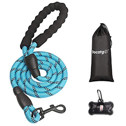 Docatgo 5 FT Starke Hundeleine mit Bequemen Gepolsterten Griff, Starke Reflexnähte der Trainingsleine für Sicherheit Nachts, eignet für Alle Größe Hunde (blau)