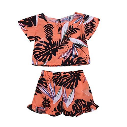 Gaono laranja conjunto de 2 peças de roupas infantis para bebês meninas com ombros de fora e calça saia curta set (90(12-18 Meses))