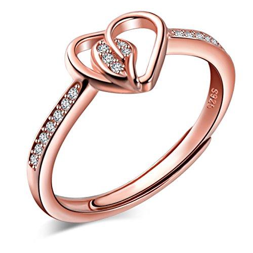 Yumilok Roségold 925 Sterling Silber Zirkonia Herzen Liebe Offener Ring Trauringe Verlobungsring für Damen Mädchen, Größe 49-57 Verstellbar