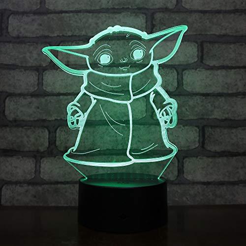 Lampara LED The Child Baby Yoda Cambia Color USB Luz Nocturna y decoración