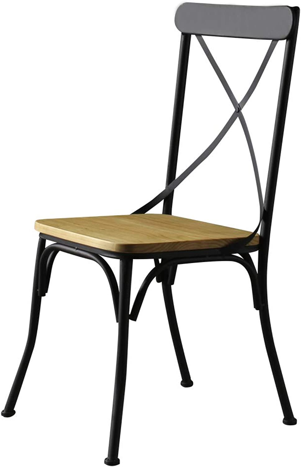 LRZS-Furniture Nordic Restoration Iron Art Dining Chair Personality Solid Wood American Cafe Simple Modern Household Leisure Backrest Chair (color   Black)