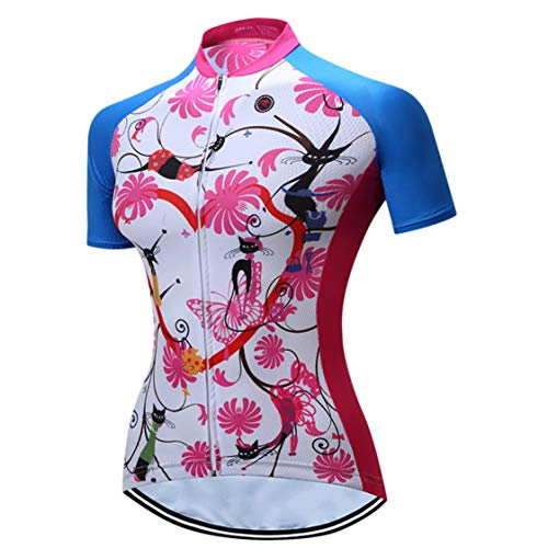 Shenshan Radtrikot Damenrad MTB Trikot Reißverschluss Kurzarm Fahrradhemden atmungsaktiv Mountain Road Tops Sommerkleidung Reitsport Rennoberteil für Damen Größe XXL