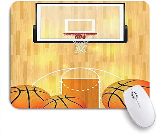 Gaming Mouse Pad Rutschfeste Gummibasis, Sportbasketballplatzball und Hoop Madness Rim Court Parkett Hartholz-Bilddruck, für Computer-Laptop-Schreibtisch