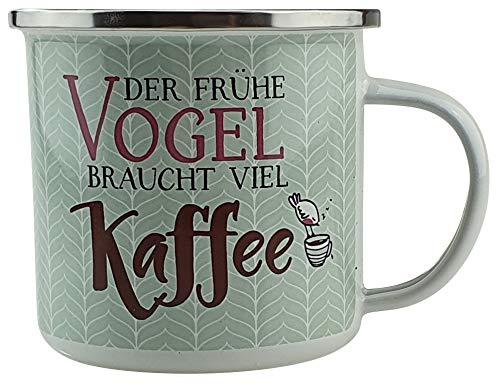 Bambelaa! Emaille Tasse Spruch Lustig Camping Becher Outdoor Geschirr Motiv Kaffeetasse Groß ca. 300 ml Edelstahlrand