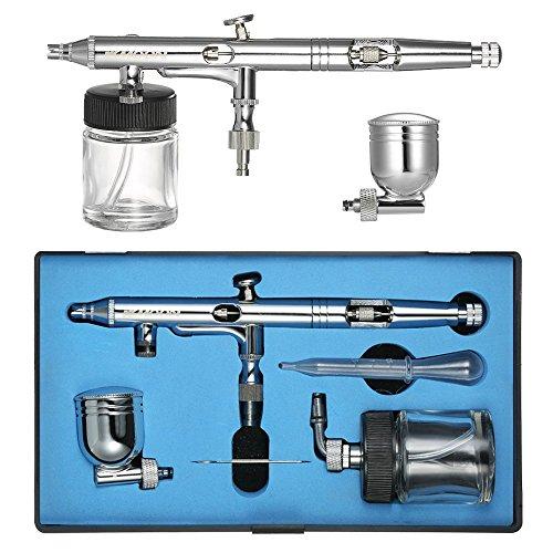 KKmoon luchtstroom instelbaar dubbelactie airbrush set met box, 0,25 mm koper airbrushpistool spuitpistool 22 ml vloeibare beker, 7 ml kleur kop, 1,5 cc pipet, mini-schroefsleutel