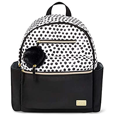 Carter's All Together Diaper Bag Backpack with Changing Pad, Black/White Dot
