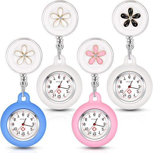 4 Piezas Reloj para Enfermera Médico, Reloj de Enfermera de Solapa Colgante con Clip Reloj de Bolsillo con Funda de Silicona Carrete Retráctil Reloj Digital
