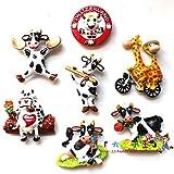 SUXIAO Swiss Holstein Cow 3D Pegatinas Nevera Creativas Pegatinas magnéticas para Personalidad Memorial del Turismo holandés