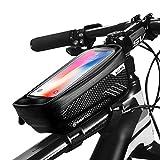 IWILCS Bolsa Marco Bicicleta, Bolsa Manillar Bici Impermeable con Soporte para Teléfono Móvil, Bolsa Bicicleta Manillar con Orificio para Auriculares para teléfono de menos de 6.5 pulgada, negro