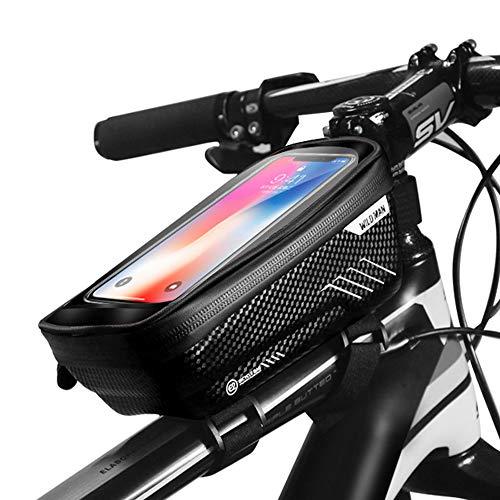 IWILCS Fahrrad Rahmentaschen mit Handyhalterung, Wasserdicht Fahrradtasche Lenkertaschen, Oberrohrtasche Fahrrad Handyhalterung, mit Kopfhörerloch (Schwarz)