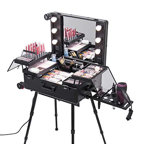 ACEWD Maletín Portatil para Maquillaje, Manicure, Makeup Profesional 2 En 1 Neceser De Maquillaje Portátil Estuche De Cosméticos con Luces De LED Y Espejo De Gran Capacidad