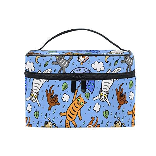 HaJie - Bolsa organizadora de maquillaje de gran capacidad, diseño de gatos y animales de viaje, portátil, bolsa de almacenamiento de artículos de aseo para mujeres y niñas