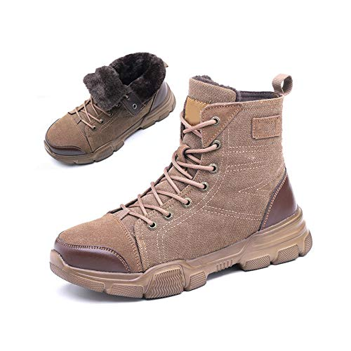 Felpa anti-sensacional botas de trabajo, Caja fuerte, ligero y cómodo de acero del dedo del pie del casquillo a prueba de pinchazos y resistente al desgaste zapatos de trabajo,Marrón,45 ⭐