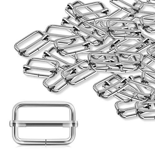 ERKOON 30 Pieces Slide Buckle 1 inch Metal Triglide Slides Rectangle Adjustable Webbing Slider for Purse Making Bag Making Suspenders Making DIY Accessories Silver
