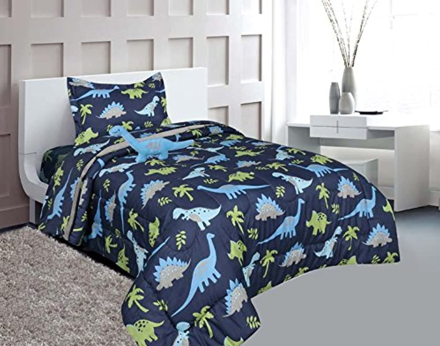 MB Home Collection Twin Size 6 pieces Printed bluee Lime green Design Comforter, Sheet Set with 1 Pillow Cushion Toy   Twin Size 6 Pcs Comforter bluee Dinosaur