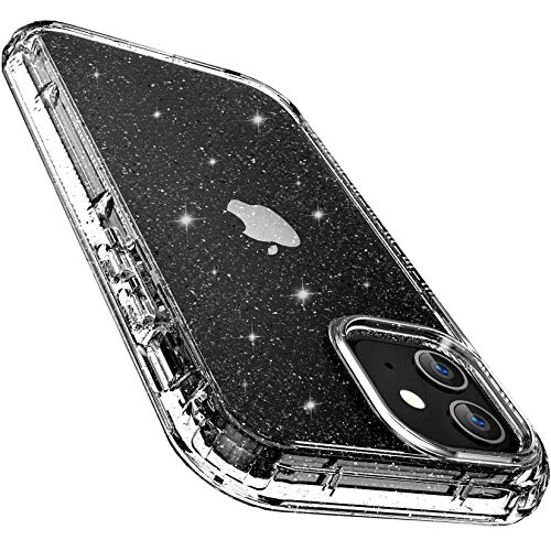 FLOVEME Case Compatible with iPhone 12 iPhone 12 Pro Case - 6.1inch 2 in 1 Transparent Glitter Cases Compatible for iPhone 12 iPhone 12 Pro 2020 5G Shockproof Bumper Cover