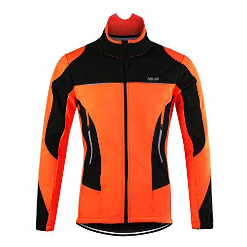 d.Stil Herren Fahrradjacke Langarm Fleece Winddicht MTB Jacke S - 2XL (Orange, L (Körpergröße: 175-180 cm Gewicht: 70-80 kg))