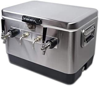 COLDBREAK Jockey Box, 2 Taps, Bartender Edition, 54 quart Cooler, 50' Coils, Steel Shanks, Includes Stainless Faucets, Silver