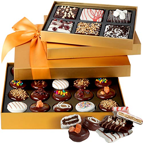 Hazel & Creme Chocolate Tower Gift Basket - Chocolate Covered Cookies & Chocolate Covered Graham Cracker - Chocolate Gift Box - Valentines, Cooperate, Thank You, Birthday Gift