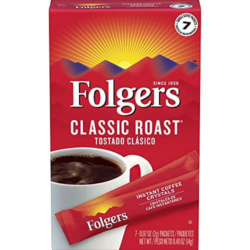 Folgers Instant Coffee Crystals Classic Roast Single Serve Packets, 0.07 Ounce Packets, 7 Count, (Pack of 12)